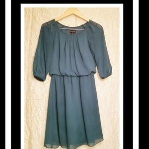 Enfocus Studio Forest Green Pleated Dress, size 6